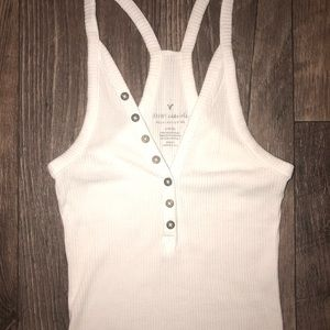 White Henley styled ribbed body suit